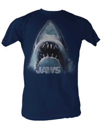 Jaws Head Logo Mens T-Shirt In Navy - S to XXL