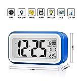 VADIV Réveil Digital CL01 Alarme Horloge Numérique Répétition Sommeil LCD Affichage Rétro-Éclairage avec Date Température Idéal pour Les Enfants Jeunes Alimenté par Secteur ou Pile - Bleu