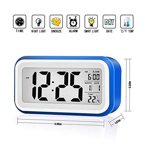Reloj Despertador Digital VADIV Gran Pantalla Silencioso con Fecha Indicador de Temperatura Calendario y Luz de