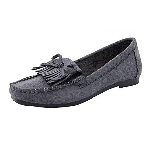 Dorical Erbsenschuhe Damen Slipper, Mokassins Bootsschuhe Low-Top mit Quaste Wildleder-Flach-Schuhe für Das Fahren geeignet Atmungsaktiv Espadrilles Ultra Bequem Sale(Grau,40 EU)