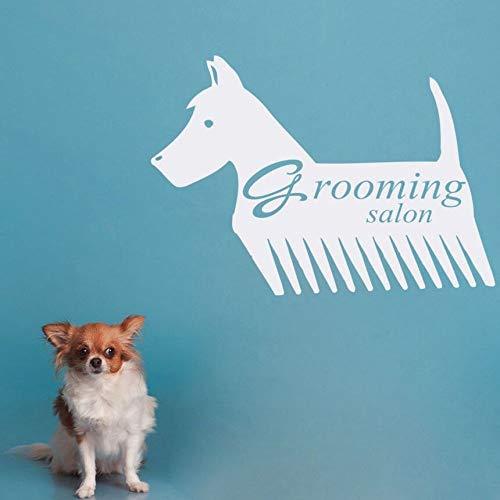 YuanMinglu Tienda de Mascotas decoración Logotipo Ventana Etiqueta de la Pared Aseo Aseo salón salón diseño de Interiores Arte de la Pared Etiqueta extraíble Negro 81x57cm