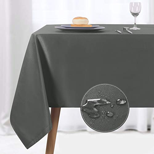 NLMUVW Rectangle Table Cloth, Waterproof Oblong Tablecloth, Microfiber Fabric 210 GSM Table Cover for Party Picnic Outdoor and Indoor Use (60 x 84 Inch, Grey)