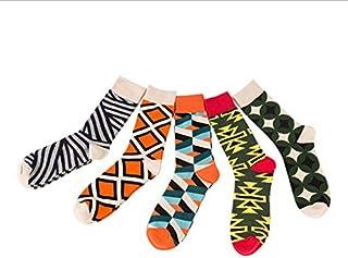 Calcetines de los hombres Vestido de color largo de algodón peinado Calcetines Calcetines de boda de skate 5 pares