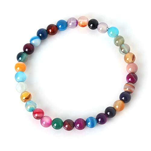 6mm Natural Stone Bracelet Bangle Colorful Beads With Elastic Rope Bracelet Men Women Jewelry 19cm ZB-01 Bracelet (Color : As Show, Size : One Size)