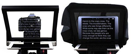 Teleprompter for Tablet (iPad, Galaxy Tab, Fire, Surface) with Beam Splitter Glass - Use with Phone or Professional Camera.