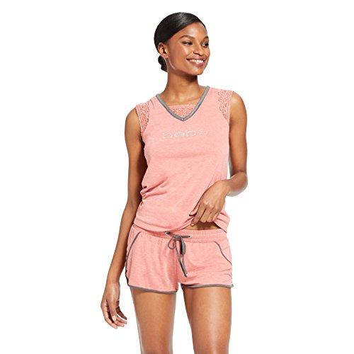bebe Womens Sleeveless V-Neck Shirt Pocket Drawstring Shorts Pajama Set Mineral Heather X-Large
