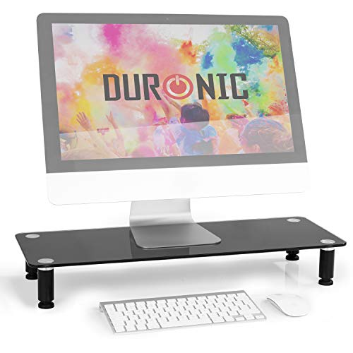 Duronic DM052-4 Bildschirmständer/Monitorständer/Notebookständer/TV Ständer/Bildschirmerhöhung/Laptop | Glas | schwarz | 70cm x 24cm | 20kg Kapazität