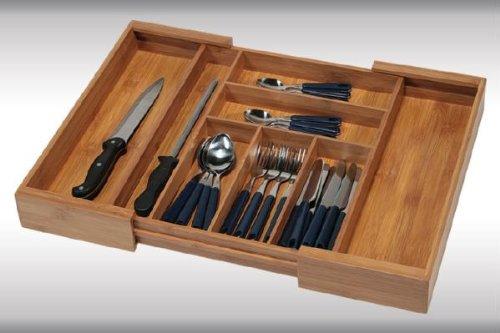 Kesper Variabler Besteckkasten, Besteckaufbewahrung, Maße: 350-580 x 430 x 60 mm, aus FSC®-Bambus-Mixed