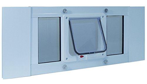37'-42' Window Sash Pet Door with Locking cat Flap (Cat Flap 6 1/4' x 6 1/4')