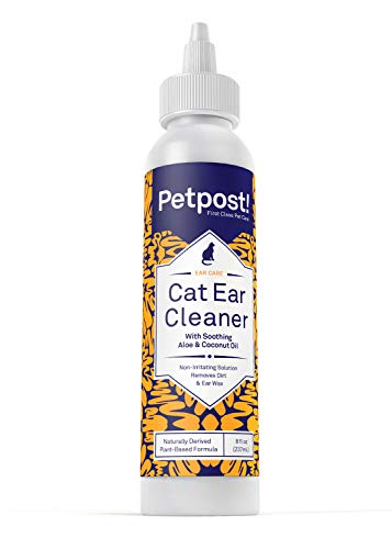 Petpost   Cat Ear Cleaner - Natural Coconut Oil Solution - Best Cleansing Remedy for Cat Ear Mites, Yeast and Ear Infection Causing Wax - Alcohol & Irritant Free - 8 Oz.
