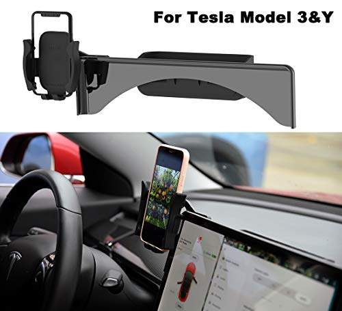 Car Cellphone Mount for Tesla Model 3 Model Y Monitor Fixed Clip Safety Cell Phone Holder Stand (Silence) Upgrade Silicone (All Screen Phone Holder)