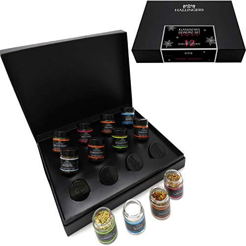 Hallingers 12er Gewürz-Geschenk-Set mit Gewürzen aus aller Welt (220g) - Klassisches Gewürz-Set xMas (Design-Karton) - zu Weihnachten