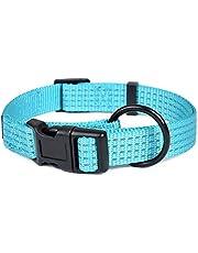 Mile High Life natt reflekterande fyra ränder dra D-ring ID-taggar hängare nylon hundhalsband (4 storlekar 4 färger)