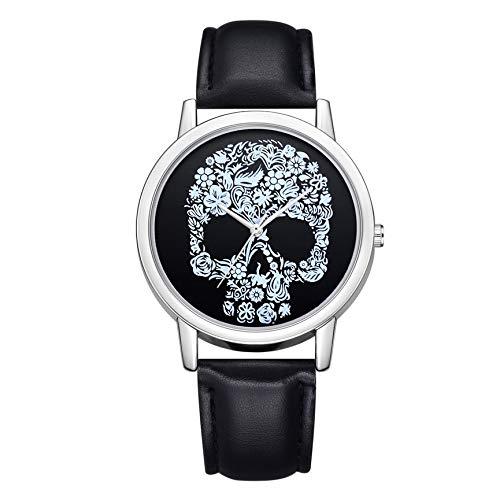 Damen Armbanduhr, Totenkopf-Design, Quarzuhrwerk, modisch, luxuriös, weiblich, Ledergürtel, Damenuhren