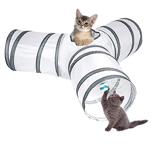 Katzentunnel, Vegena 3-Wege-Katzentunnel Haustier Tunnel Katze Tunnel Tube Pet Play Tunnel Spieltunnel Katzenspielzeug Tunnel für Katze, Welpe, Kaninchen, 80*30*25cm