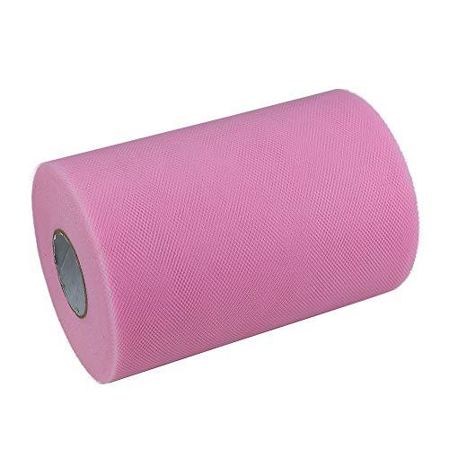 Paor 100 Yardas 15cm de ancho Tela de cinta de tul para la decoración de la fiesta Wraping Craft Bow Girl Tutu Color Verde oscuro/rosa / púrpura Amarillo limón/Azul marino/Blanco (Pink)