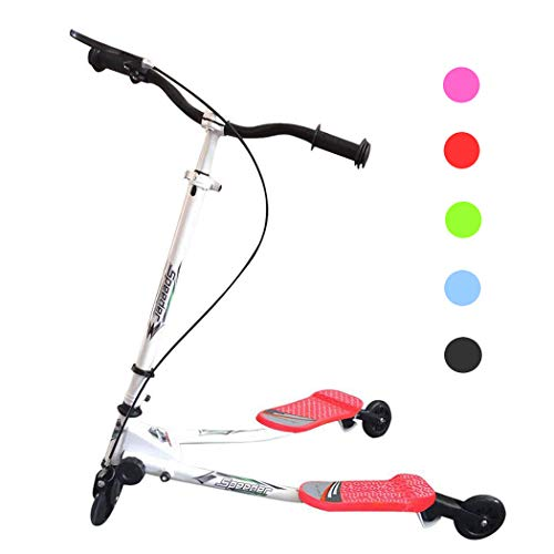 Y Flicker Scooter, Swing Wiggle Scooter, Adjustable 3 Wheels Foldable Driving Push Drifter for Kids Age 5 Years Old and Up (Red)