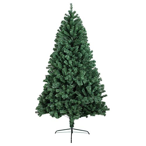 2020 New 6ft Hinged Artificial Christmas Pine Tree Holiday Decoration with Metal Stand, 1,000 Tips, Easy Assembly, for Outdoor and Indoor Decor