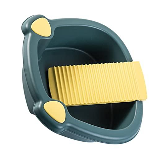 Toddmomy Cuenca de La Tabla de Lavar: Lavado de Plástico Lavandería Cubeta de Lavabo para El Hogar Dormitorio de La Mano Lavando Ropa Y Pequeños Artículos Delicados Azul Oscuro