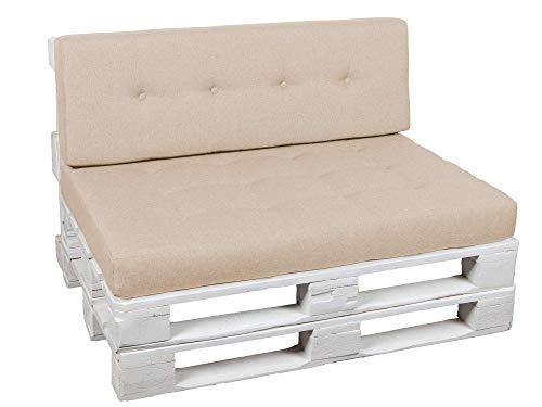 Palettenkissen Palettenauflagen Sitzkissen Rückenlehne Gesteppt PFG (Sitzkissen 120x60, Creme)