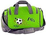 Mein Zwergenland Sporttasche Kinder mit Schuhfach und Nassfach Kindersporttasche 41L mit Namen personalisiert, Motiv Torjäger, in Lime Grün