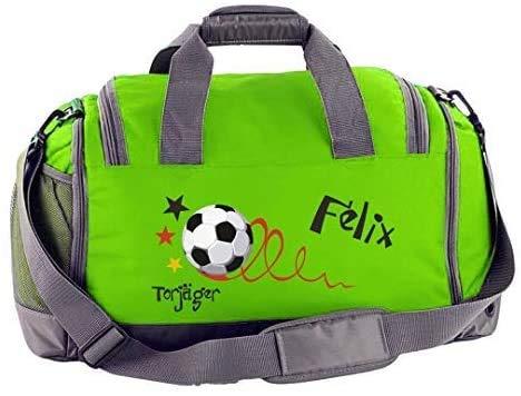 Mein Zwergenland Multi Sporttasche Kinder mit Schuhfach und Feuchtfach Sporttasche mit Namen Fußball Torjäger als Aufdruck Farbe Lime Grün 41 L Stauraum die perfekte Sporttasche für Kinder