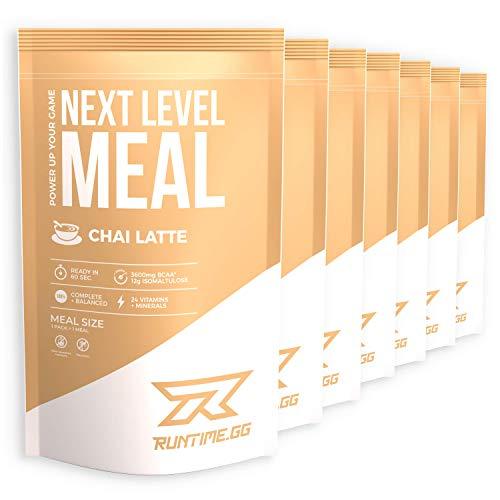 Runtime Next Level Meal Chai Latte - vollwertiger Mahlzeitersatz für langanhaltende Sättigung, Energie, Konzentration und Leistungsfähigkeit, mit Vitaminen und Nährstoffen, 7 x 150g
