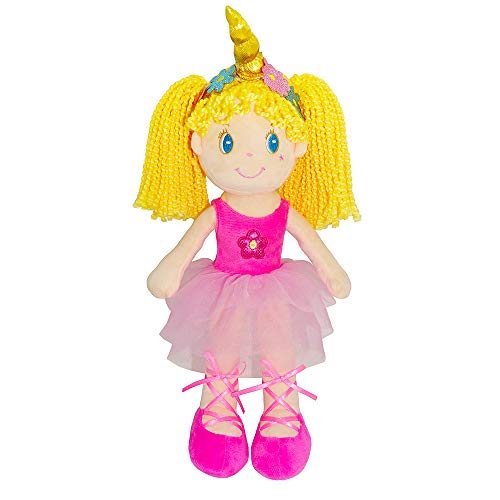 "June Garden 14"" Ballerina Princess Fiona - Stuffed Plush Soft Rag Doll for Kids - Pink Dress"