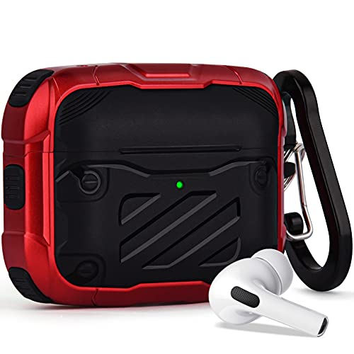 Cool Armor Case for Airpods Pro, Protective AirPod Pro Case Cover for Men Women, CAGOS iPod Pro Earbuds Case [Non Slip] Compatible with Apple AirPods Wireless Pro (Red)