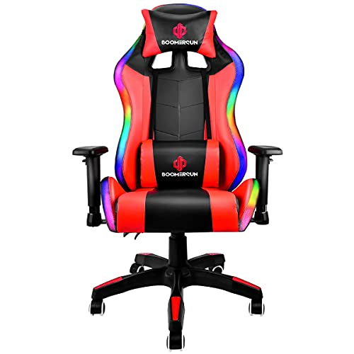 Boomersun Gaming Stuhl Racing Stuhl, Ergonomischer Bürostuhl Stuhl, Drehstuhl Racer Gamer Stuhl PC Stuhl, mit Wippfunktion, Einstellbarer Neigungswinkel, Einstellbare Armlehne (Rot, Mit LED-Licht)