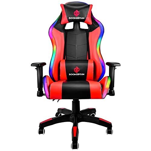 Boomersun Gaming Stuhl Racing Stuhl Mit LED-Licht, Ergonomischer Bürostuhl Stuhl, Drehstuhl Racer Gamer Stuhl PC Stuhl, mit Wippfunktion, Einstellbarer Neigungswinkel, Einstellbare Armlehne