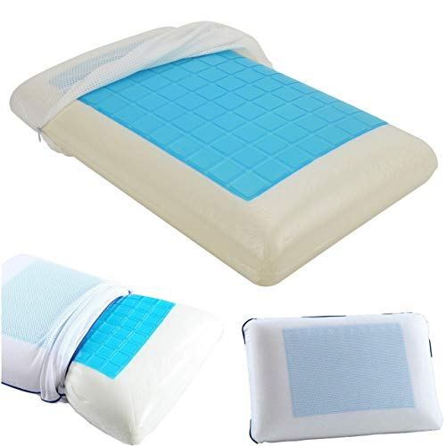 Shopylistic Contour Memory Foam Pillow With Cooling Gel Orthopaedic Bed Pillow incl. Removable...