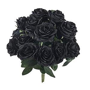 kukumoka Artificial Silk Flower Open Roses Bush Rose Flower 2 Bundles with 20 Heads