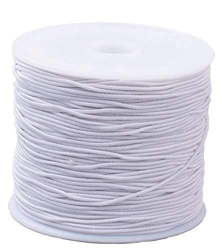 Sadingo elastische band 15 meter (1 mm), elastiek parelsnoer, armbanden, DIY sieradenarmband elastiek, zwart of wit wit