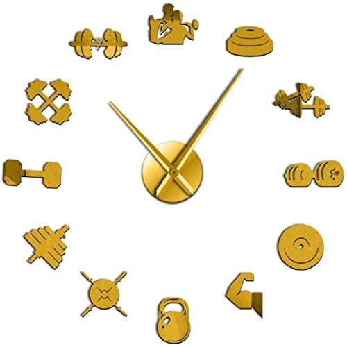 Reloj de Pared de acrílico de Bricolaje Weightlifter Sport D DIY Original Wall Clock Weightlifting Gift for Fitness Lover Gym Mirror Effect Acrylic Wall Decor Clock-47 Pulgadas
