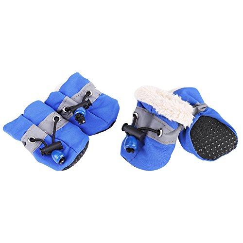 Zouminy 4 stuks geen beleg-huisdier-hond beschermt de waterdichte hondensokken van de laarzen, die het zachte katoen zijn, dat voor kleine honden wordt gevuld., #5, blauw