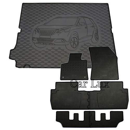 Car Lux DUO05866 – Tapis de protection pour coffre et tapis en caoutchouc sur mesure Kit pour Peugeot 5008 II 7 places à partir de 2017