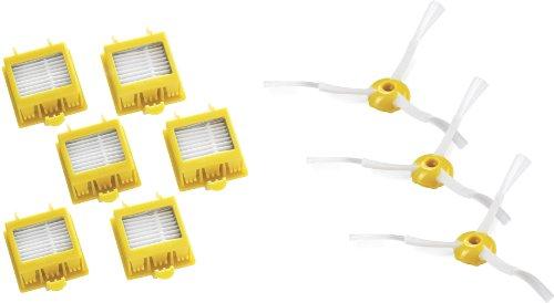 iRobot 21986 - Set de 6 filtros HEPA y 3 cepillos laterales, color negro