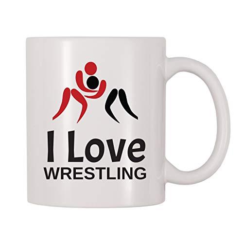 Ik hou van worstelen mok, worstelen, Sport, Team, wedstrijd, competitieve thema beker, geschenk voor worstelaars, worstelen fans, liefhebbers, liefhebbers 11 oz Wniter mok