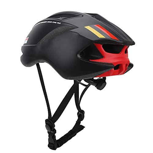 Casco de motocicleta moldeado integralmente para bicicleta, diseño de doble hebilla, correas de nailon, ajustable, ligero, universal con circunferencia de la cabeza de 22,8 a 24,8 pulgadas(negro)
