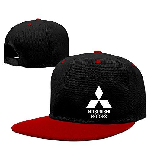 Yisw Mitsubishi Motors Logo Adjustable Snapback Hip-hop Baseball Cap Red