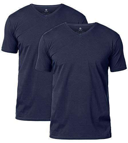 LAPASA Pack de 2 Camisetas para Hombre de Algodón ELS Manga Corta (S (Largo 70, H-H 43, Pecho 89-94 cm), Azul Marino/Navy Blue (Cuello Pico V))