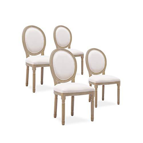 INTENSEDECO Lot de 4 chaises médaillon Louis XVI Tissu Beige