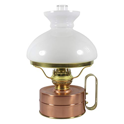 Heinze Petroleumlampe Galley Kupfer poliert, mit weissemVESTA Opal-Glasschirm, 48 Std. Leuchtdauer, als Tischlampe und Wandlampe