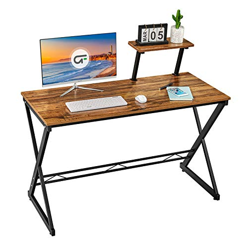 """GreenForest Computer Desk 35.4"""" Writing Study Desk with Moveable Storage Shelf Home Office Pc Laptop Table Small Gaming Desk with Sturdy X-Legs, Walnut"""