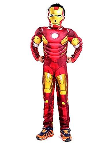 Disfraz de hombre de hierro - torso musculoso - superhéroe y máscara - disfraces para niños - halloween - carnaval - cosplay - accesorios - talla m - 6-7 años - idea de regalo iron man cosplay