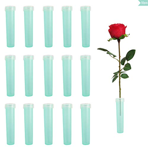 NX Garden Floral Water Tube 50PCS Clear Aqua Blue Plastic Fresh Flower Vials Nutrition Container with Caps for Flower Arrangements