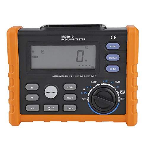 Akozon Circuit Breaker RCD Loop Tester PEAKMETER PM5910 Leckage Switch Tester Digital widerstand Meter Multimeter Schleife Widerstand Test Trip Out Strom,Auslösezeit,Kontaktspannung,Wechselspannung