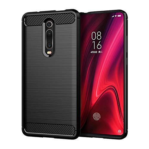 Funda para Xiaomi Mi 9T / Mi 9T Pro Carcasa Protectora Antigolpes Silicona Negra Diseño Fibra de Carbono Resistente Absorción Choque [Compatible Carga Inalámbrica] (Xiaomi Mi 9T / Mi 9T Pro, Negro)