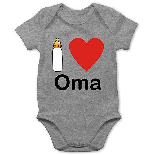 Preisvergleich Produktbild Shirtracer Strampler Motive - I Love Oma Nuckelflasche - 1 / 3 Monate - Grau meliert - i Love oma Baby - BZ10 - Baby Body Kurzarm für Jungen und Mädchen